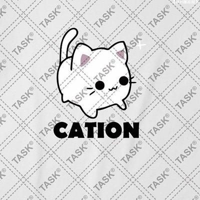 【M.H潮流館】 TASK化學元素陽離子貓CATION純棉短袖T恤衫男女學生半袖文化衫夏裝FY659