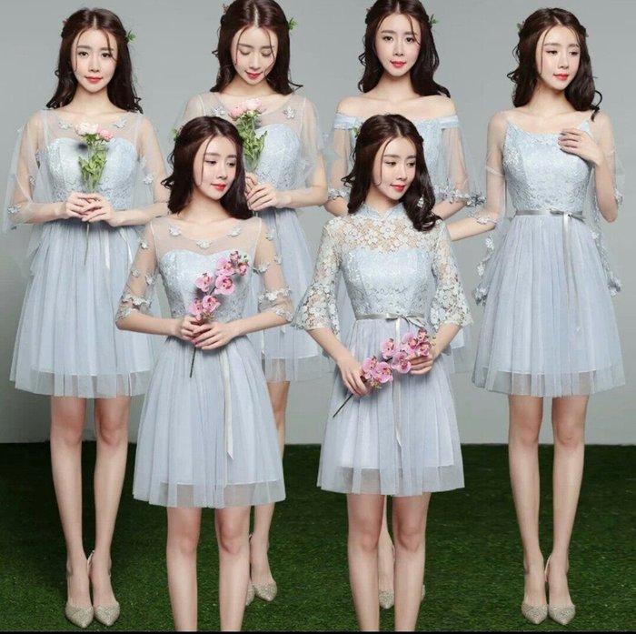 婚紗 伴娘服 蕾絲 禮服 短款 鬆緊帶 顯瘦 一字肩 主持 宴會 修身 三色 多款可選  Me Gusta
