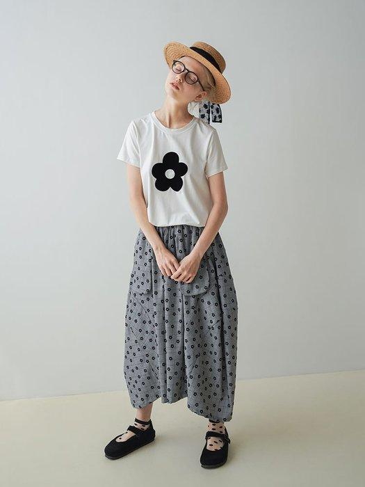【鈷藍家】甜美個性原創設計灰色格紋小花朵半身裙日系簡約夏季新款女不規則中長裙203040