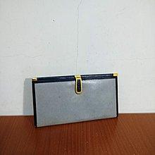 早期摩登時代 美好時光 vintage 真皮 錠藍 古著 護照夾 長夾