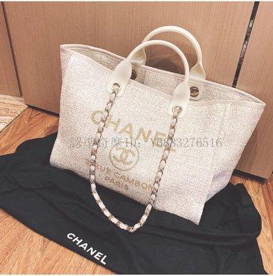 二手正品  Chanel/香奈兒 大號 沙灘包 logo帆布購物袋 單肩手提包包 A66941