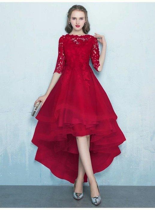 天使佳人婚紗禮服旗袍~~~~蕾絲網紗前短後長晚禮服