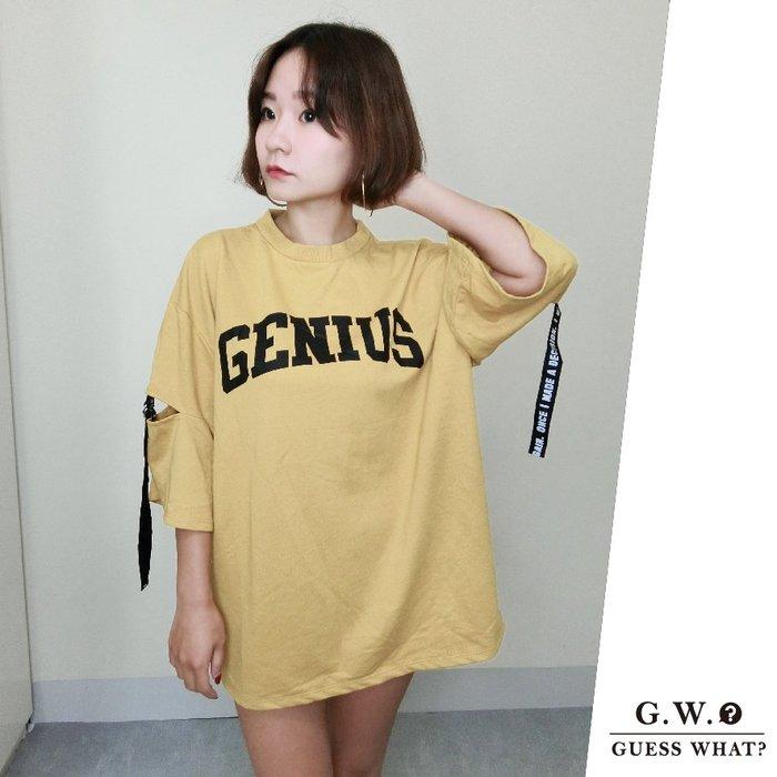 GW 歐美風黃色七分袖綁繩造型 寬鬆慵懶風長版上衣 休閒T恤 F尺寸 GUESSWAHT