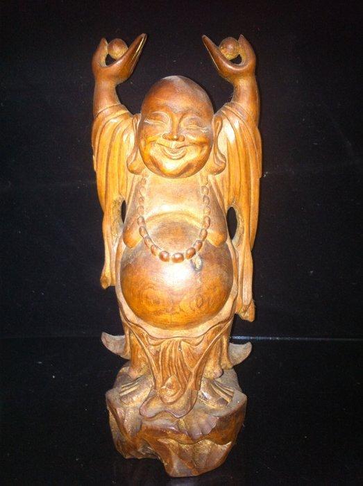 【貝勒爺古文物】K160檜木雕(歡喜佛)