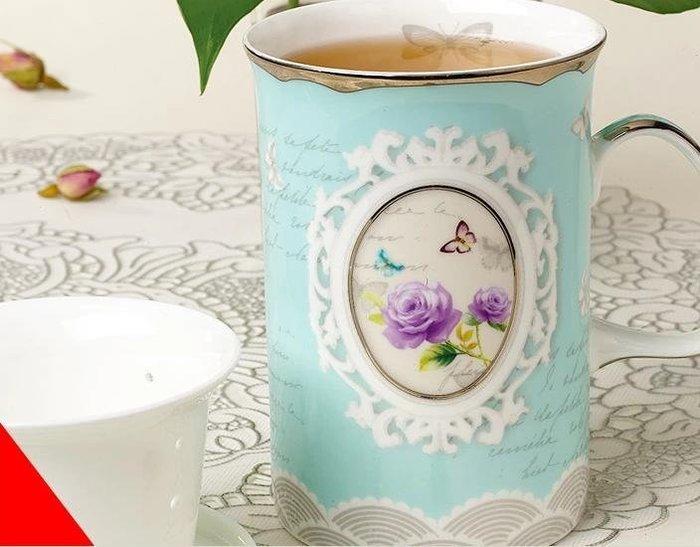 粉紅玫瑰精品屋~奢華鉑金骨瓷杯 創意陶瓷泡茶杯~現貨