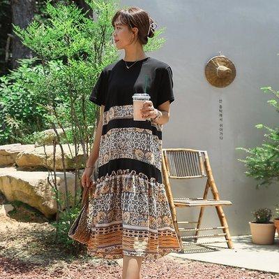 bibi_korea 正韓  民族花朵印花拼接連身裙【 W2776 】