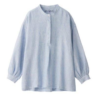 無印良品 MUJI 女有機亞麻水洗直紋立領長版衫 XS-S