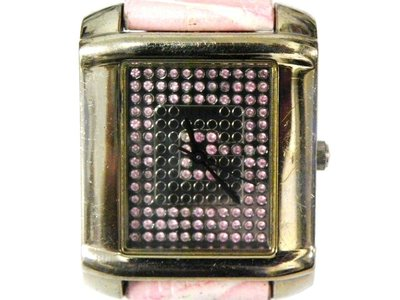 石英錶 [GUESS I65100L1] GUESS 方型潮錶[粉紅鑽面]中性/時尚錶
