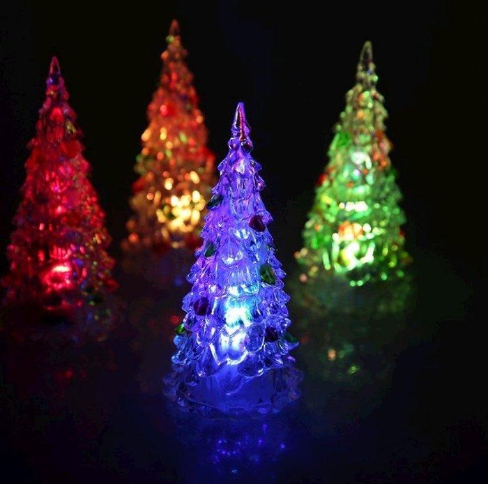 【阿LIN】193812 小夜燈 中 小聖誕樹 造型燈 七彩 發光 聖誕節 飾品 裝飾 佈景 夜景 一標一入