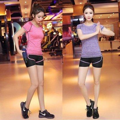 哆啦本鋪 春夏新款瑜伽服套裝女寬鬆顯瘦健身房運動跑步服短褲D655
