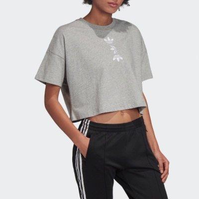 【吉米.tw】adidas Large Logo Tee 女款 三葉草 短版 短袖 灰 FS7231 APR a