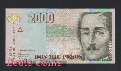 【Louis Coins】B808-COLOMBIA-2005-2014哥倫比亞紙幣 2.000 Pesos