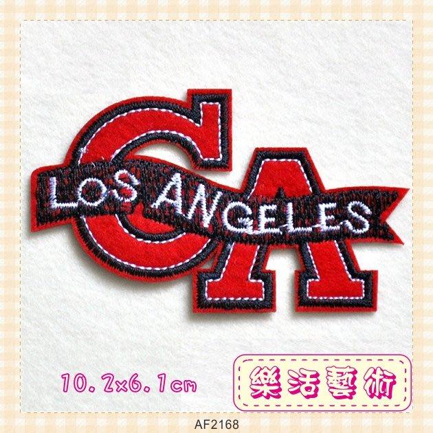 樂活藝術「燙貼布」 ~ 字母LOS ANGELES 刺繡布貼 熨斗貼 徽章 背章 《有背膠》【現貨】【AF2168】