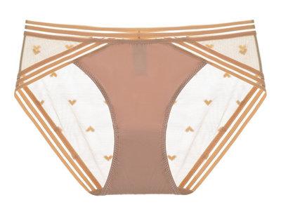 女內褲低腰三角短褲性感網紗透明超薄愛心學生提臀純色火辣誘惑-金色
