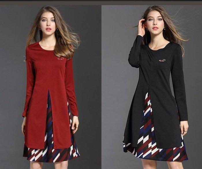 *蜜寶貝*全新【現貨~快速出貨】-歐美寬鬆大碼女裝中長款假兩件雪紡拼接連衣裙 高質感 尺寸4XL 紅色