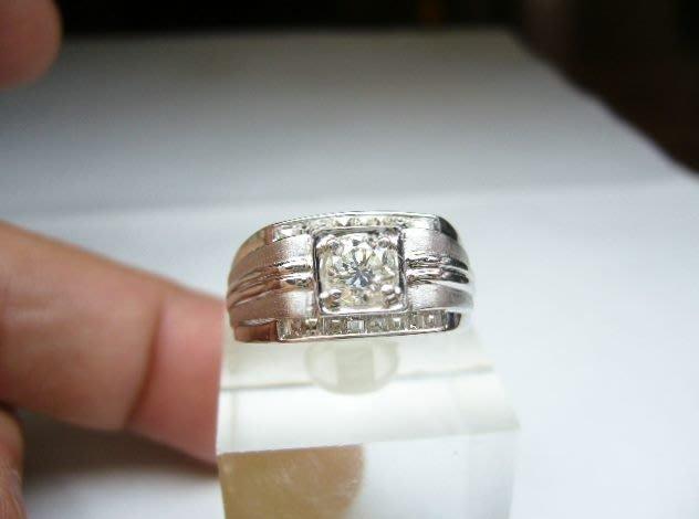 [吉宏精品交流中心]45分 天然鑽石 白K金 造型 男 戒指