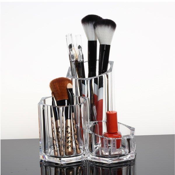 5Cgo【鴿樓】會員有優惠 25736280467 亚克力透明連體刷具桶 可愛創意化妝品收納盒 桌面整理盒 儲物盒