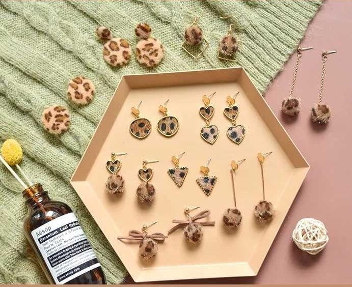 diy耳環材料包 緞帶 流蘇 自製耳釘耳飾品耳墜配件 10對款 幾何豹紋款 豹紋 兩套材料包贈分類盒 19