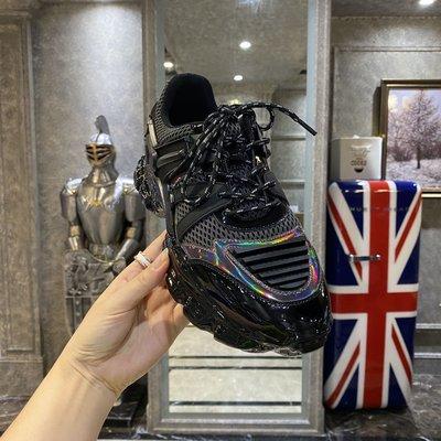 歐韓貨歐洲男鞋老爹鞋ins潮2021秋季新款時尚炫彩淋膠運動鞋跑鞋休閒鞋