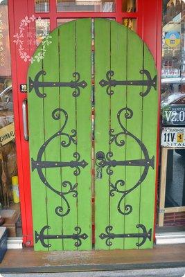 復古鐵藝大門門片壁飾 綠色仿舊圓弧頂木...