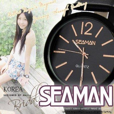 【 贈盒】SEAMAN雜誌極簡 ck風大錶面設計 男女百搭款 ☆匠子工坊☆【UT0077】-皮