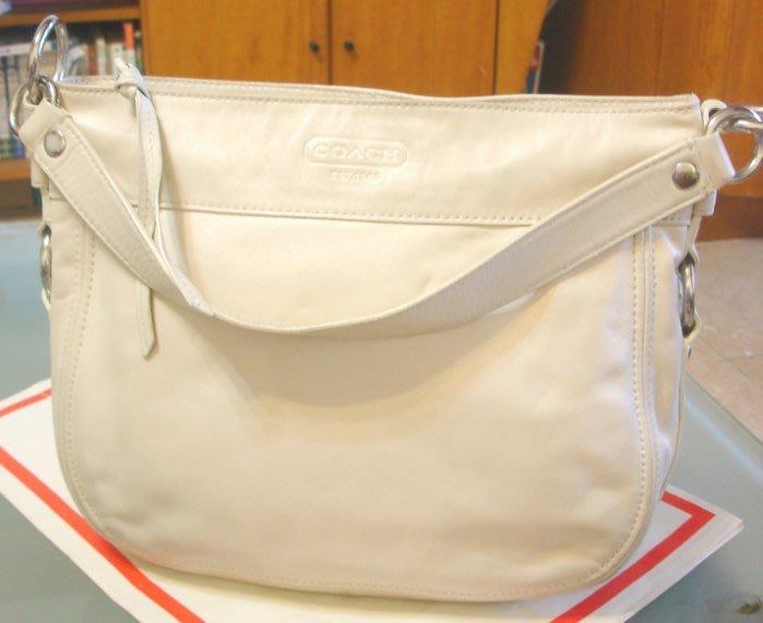 美國Coach 女性beige色純厚牛皮 拉鍊式 側背包 超值真品 中型 36 x 26 x 10cm