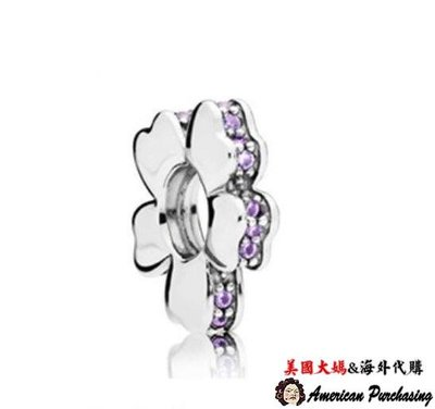 美國大媽代購 Pandora 潘朵拉 鑲鑽花朵新款間隔珠(隔圈) 925純銀 Charms 美國正品代購