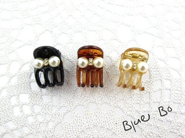 ~*BlueBo*~Korea 韓國飾品 氣質珍珠水鑽 (超小 )鯊魚夾/小抓夾~1.5cm