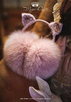 魔法大布娃娃 宮廷日系公主原創貓咪保暖可愛紫粉皮草耳罩 好搭保暖皮草狐狸毛球秋冬可愛狐狸大毛球甜美森林系護耳大毛球帽