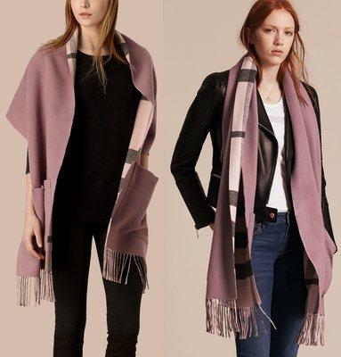 已售出 Burberry 紫色 羊毛 Cashmere 羊絨 口袋 圍巾 披肩