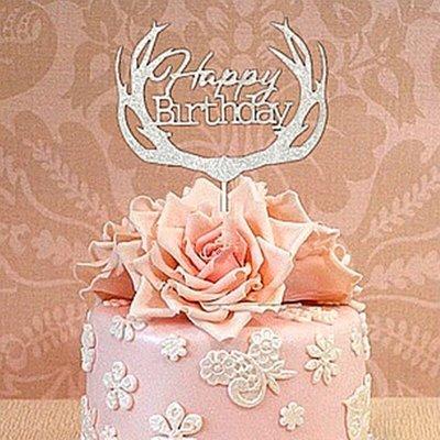 (銀色)森林系鹿角生日快樂happy birthday蛋糕插旗 插卡 蛋糕裝飾插牌 party candy bar