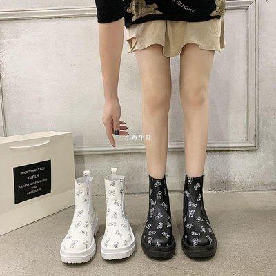 小跑牛鞋無鞋帶馬丁靴女2020年秋季新款正韓粗跟厚底增高小個子中筒單靴女