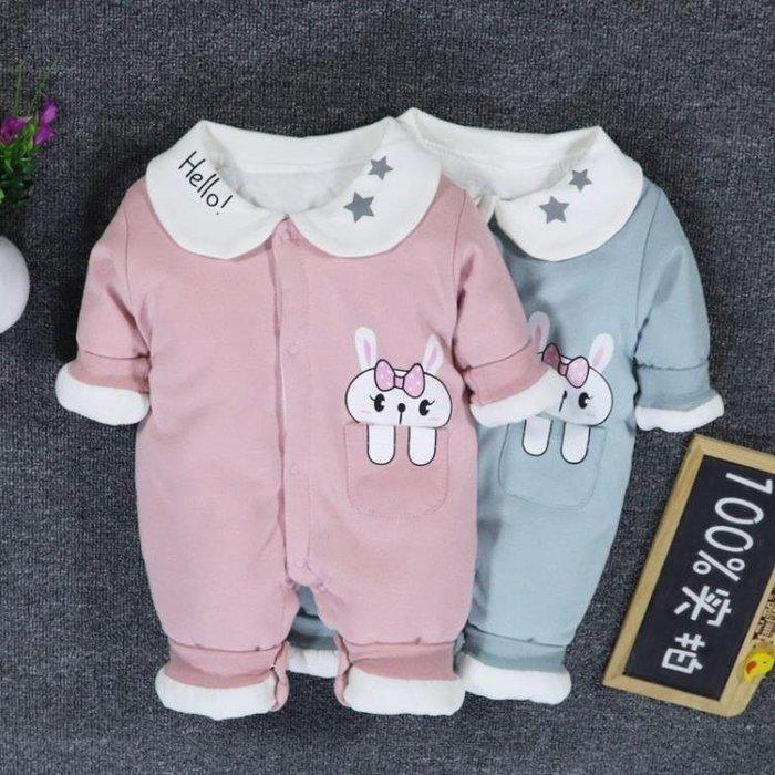 999女嬰兒寶寶秋冬裝套裝女0一1歲連體衣剛出生冬季薄棉保暖夾棉衣服01KK12