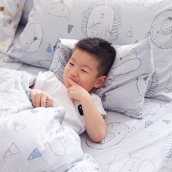 【OLIVIA 】DR350 動物躲貓貓 灰  標準單人床包美式枕套兩件組(不含被套) 100%精梳純棉 童趣系列