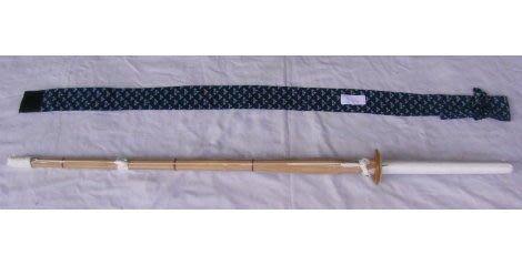 濟武:有背帶菖蒲染單入刀袋(藍色) +單把39號A級仕組竹劍(有附刀鍔)-2組以上免運費