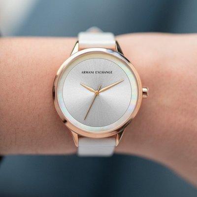 現貨 可自取 ARMANI EXCHANGE AX AX5604 手錶 38mm 玫瑰金 三針 白色皮錶帶 女錶