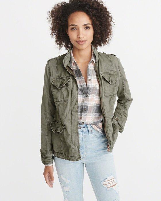 【現貨】 女 A&F 刺繡軍裝風 斜紋襯衫夾克  保證正品 歡迎來店參觀選購