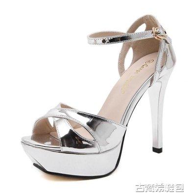高跟鞋 歐美超高防水台細跟高跟鞋一字扣金色婚鞋銀色宴會性感露趾涼鞋女