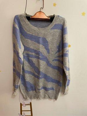 針織毛衣上衣 斑馬紋 紫灰 質感舒適 少穿 原$690