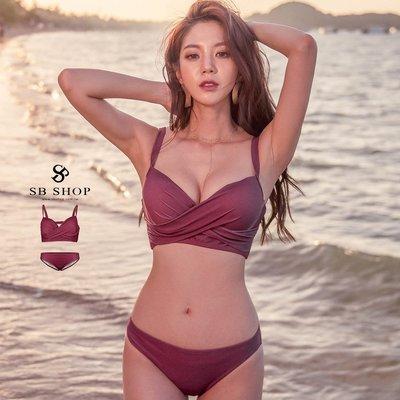 [599免運] 比基尼【濃情紅酒扭結比基尼兩件組】爆乳 性感 泳裝 泳衣 2b185