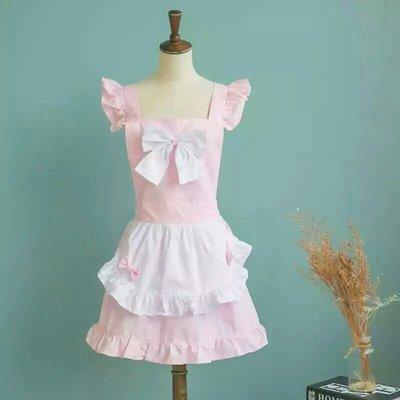 UL 1216韓版甜美公主風蝴蝶結工作圍裙 廚房餐廳咖啡店 麵包店甜美圍裙 粉色