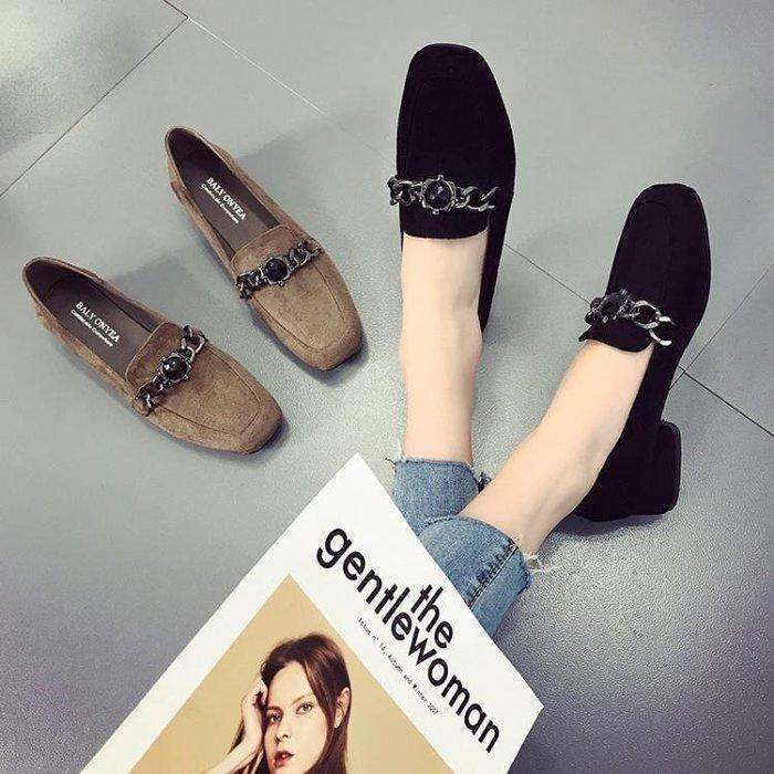 單鞋女鞋粗跟新款韓版百搭春季中跟小皮鞋淺口鞋子女