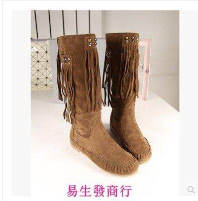 【易生發商行】歐美範明星街拍百搭流蘇靴...