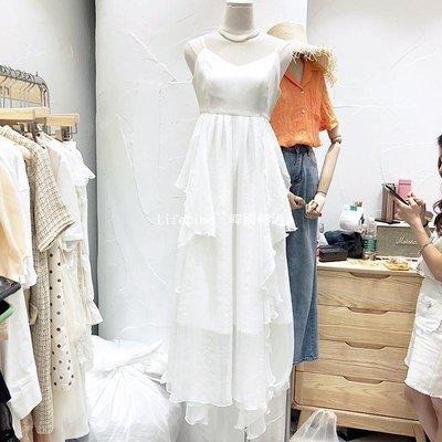 Lifetime~~韓國專櫃韓國2019夏新款YES.K很仙的修身顯瘦V領拼接吊帶裙子洋裝洋裝女小眾連身裙
