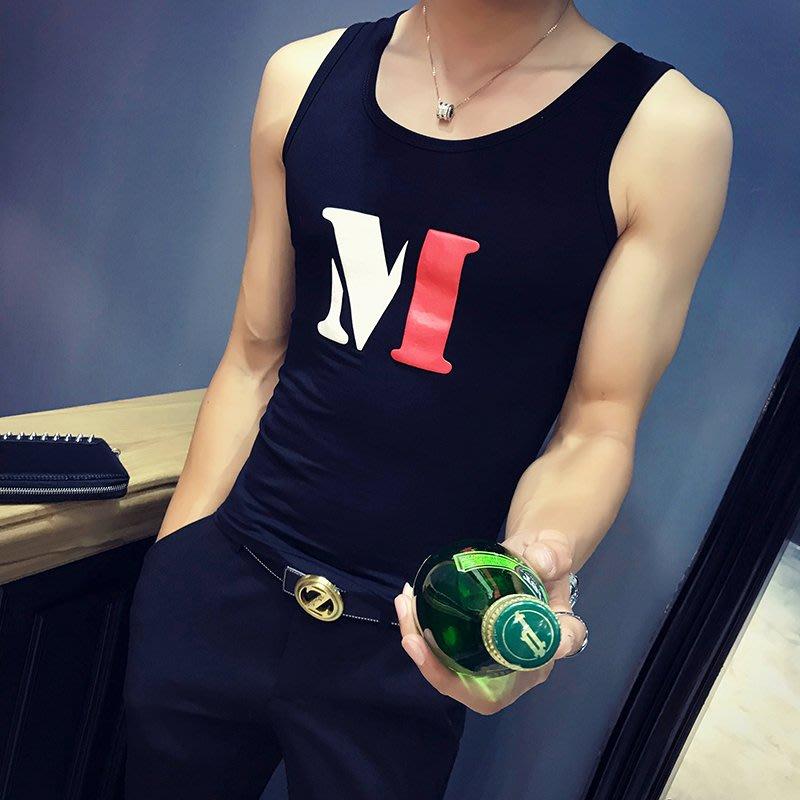 坎袖背心男修身型韓版潮流個性夏季緊身彈力純棉透氣