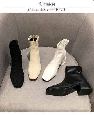 秋冬新款瘦瘦靴粗跟中跟短靴彈力靴 四款 預購