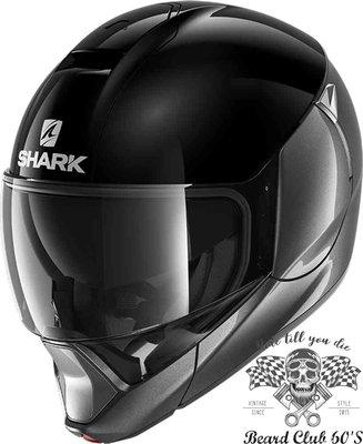 ♛大鬍子俱樂部♛ SHARK® Evojet Blank  Dual 法國 復古 Jet 可掀式 可樂帽 安全帽 黑/銀