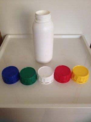 {2號HDPE}空瓶/分裝瓶/塑膠罐/化工瓶/原料瓶子500ml瓶+蓋五色任選NT18元/一組.優惠中