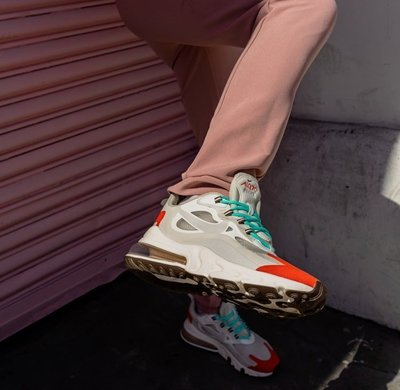 Nike Air Max 270 React 半透明 白色 白灰 橘紅 湖水綠 氣墊 休閒 男女鞋 AO4971-200