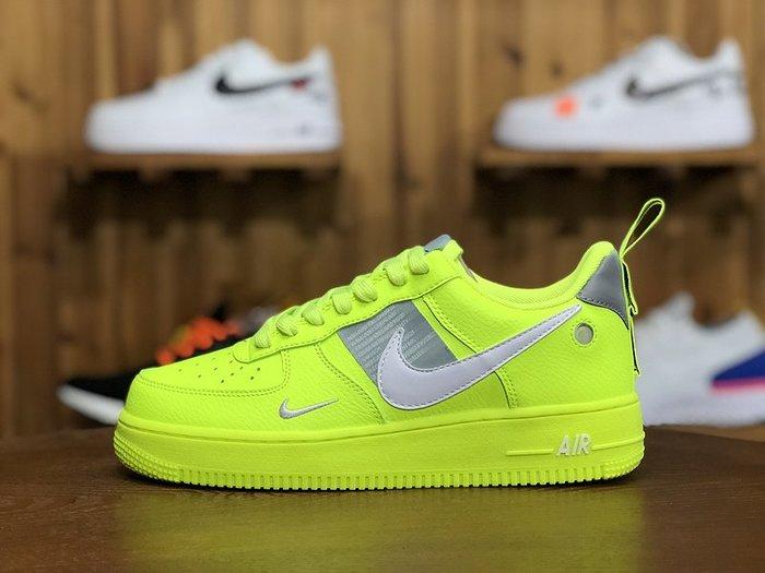 NIKE AIR AF1 熒光綠 亮眼 經典 休閒滑板鞋 AJ7747 700 男鞋
